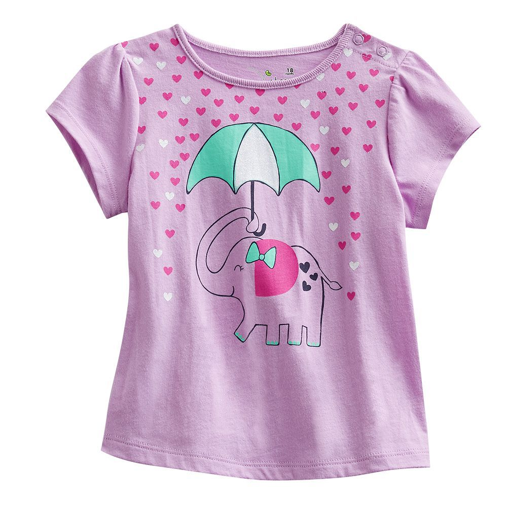 2017 Summer Baby Girls T-Shirts Purple With Cute Elephant Heart Rain Fashion Girls Clothes 100% Cotton Quality