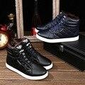 De Los Hombres de moda Zapatillas de Alta Superior Espesar Cálido Zapatos de Lona Sapatos Tenis Masculino Zapatos Casual Hombres de Cuero de Invierno Botas de Piel
