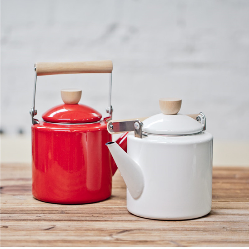 Special Offer 2.4L Enamel Water Kettle Teapot Coffee Pot Cooking Tools Straight Tisanes TeaPot Induction Cooker High Wheat Pot