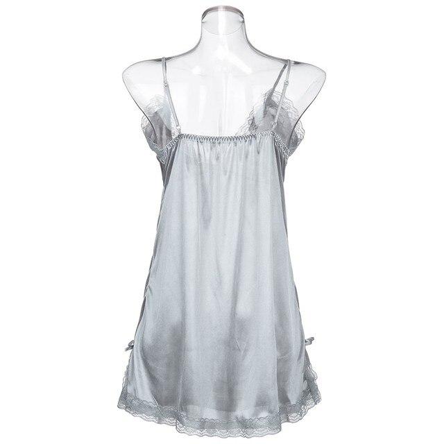 Plus Size Womens Sleepwear Lingerie Nightdress Ladies Underwear Sexy Satin Sling Sleepwear Pijama Mujer Algodon Verano 4