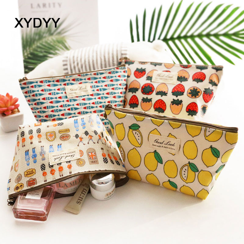 XYDYY Casual Pineapple Prints Women Cosmetic Bag Waterproof Cotton Cloth Makeup Bag Daily Cosmetic Cases Organizer Storage Pouch