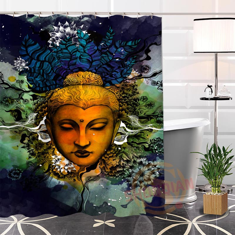 Buddha Shower Curtains Waterproof polyester Fabric Bathroom Curtain With Hooks Custom Shower Curtain For Home Decor
