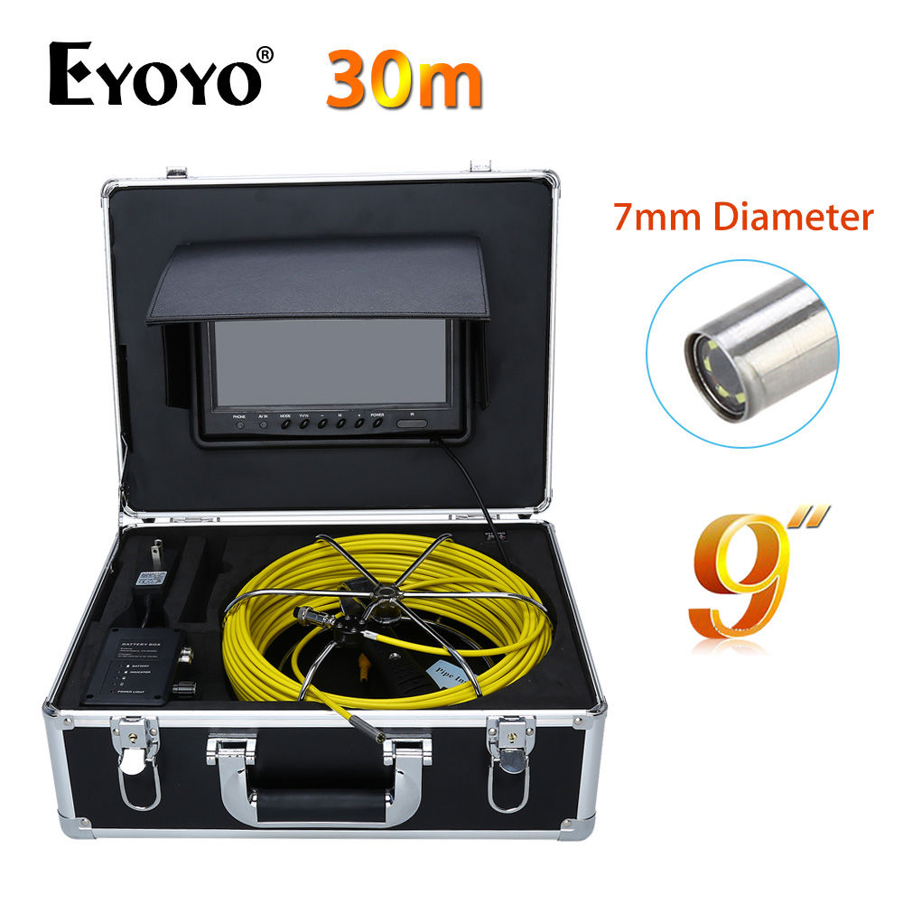 Eyoyo 30M 9LCD 7mm Wall Drain Sewer Pipe Line Inspection Camera System CCTV Cam CMOS 1000TVL Snake Inspection TFT HD Sun shield compatible projector lamp for nec lt70lp 50024095 lt170
