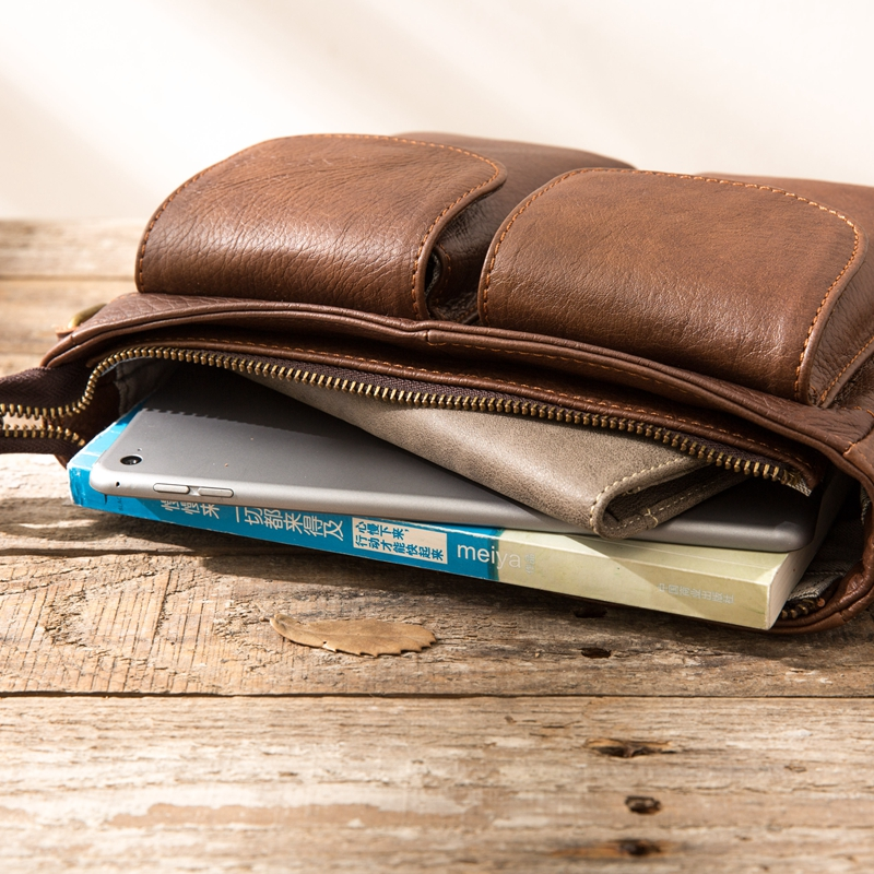 AETOO Original Retro Men's Leather Handbag First-Handed Cowhide Shoulder Skip Mailman Bag Casual  Men's Bag