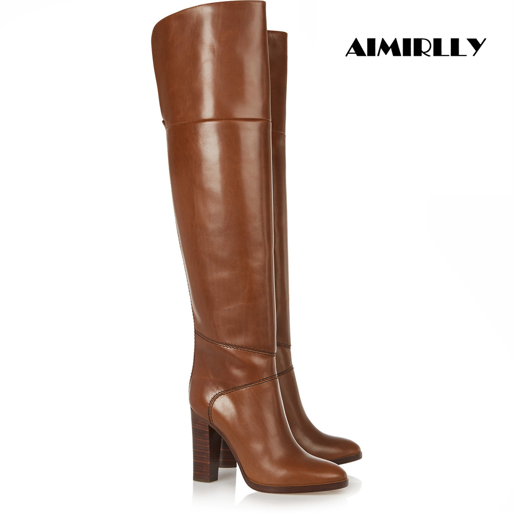 Women Round Toe Chunky Heel Over The Knee Boots Classic Winter Shoes Brown Custom Boots Handmade Wholesale Big Size 15 16 17Women Round Toe Chunky Heel Over The Knee Boots Classic Winter Shoes Brown Custom Boots Handmade Wholesale Big Size 15 16 17
