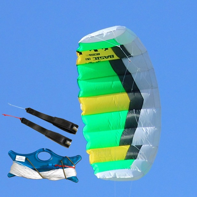 Dual Line Parafoil Power Kite 1.0sqm Stunt Kite With Wrist Strap Kite Line  for Outdoor Sport Beginner Trainning