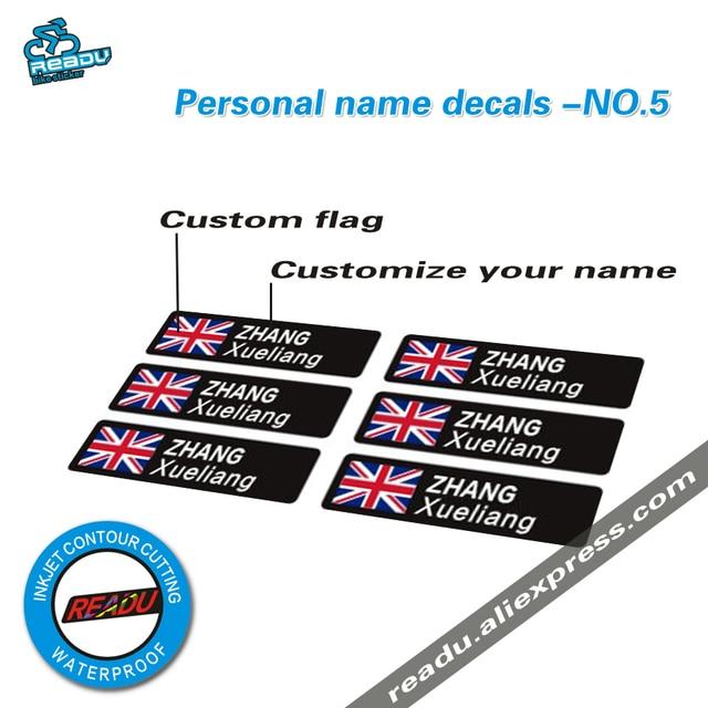Tour de france road bike frame flag personal name custom rider id stickers no 5