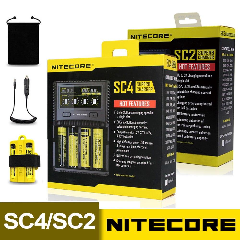 NITECORE SC4 SC2 Intelligente Più Veloce di Ricarica Superb Caricatore 4 Slot 6A Totale di Uscita Compatibile IMR 18650 14450 16340 Batteria AA