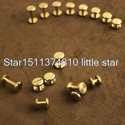 все цены на 10x Solid Brass Screw Copper buckle Nail Rivets Craft Strap 10mm surface