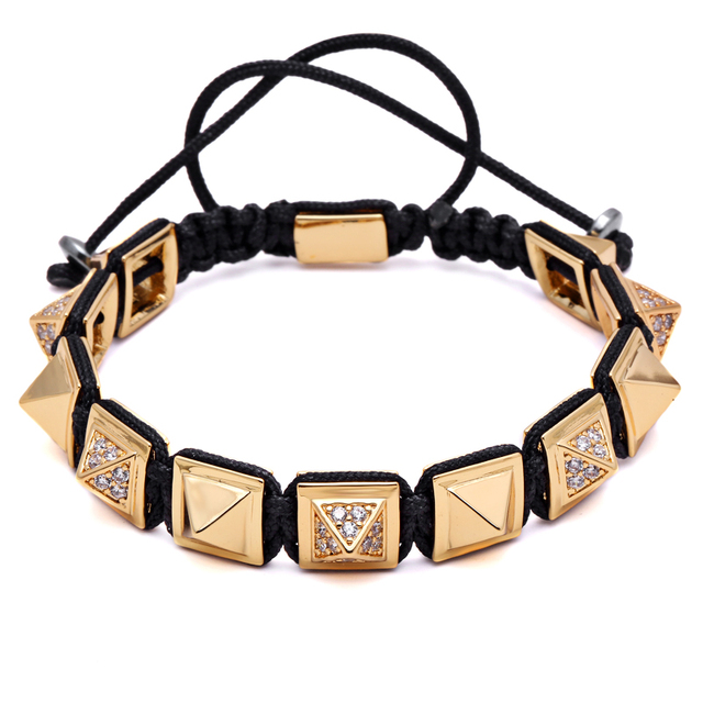 483249162a80d US $27.93 43% OFF|Mcllroy Brand Men Jewelry Micro Pave CZ Pyramid Beads  Braiding Macrame Power Charm Bracelet Men Gift Gentle Men Bijoux-in Cuff ...