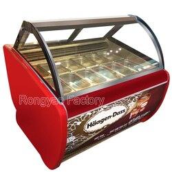12 bandejas de 8 barris de 180L ice cream exibição vitrine vidros armários de refrigeração refrigerado exibição transparente para sorvete lâmpada
