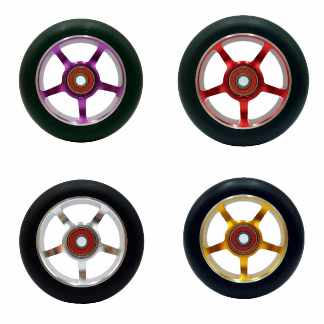 4 wheels alloy core freestyle stunt scooter wheels with CNC machined core/anodizing coloration with cheap price for sale