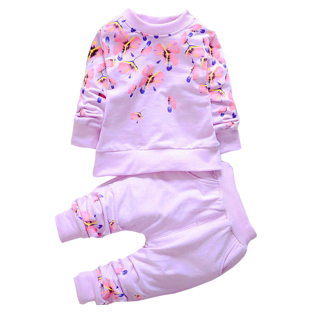 New Spring Autumn Kids Clothes set Floral Pattern Long Sleeve Girls Kid Sets Baby clothing Set