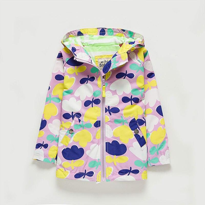 Children Girls Outwear Hooded Jacket Long-sleeved Kids Windbreaker Flower Waterproof Girls Purple Coats New Clothes For 8 Years
