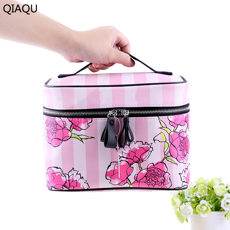 QIAQU Cosmetic Bags High Quality Polyeste Makeup Bags Travel Organizer Necessary Beauty Case Toiletry Bag Bath Wash Make up Box dark brunette