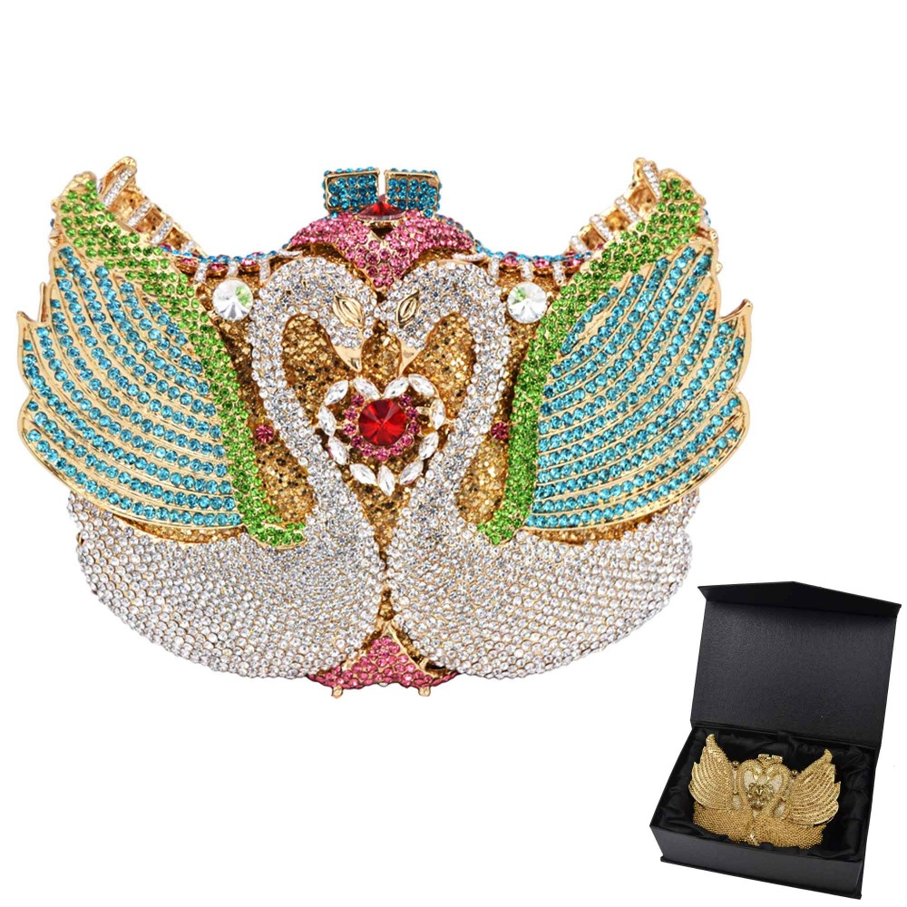 New ! rainbow Swan shape Clutch bag women evening bag Luxury rainbow crystal clutch evening bags Bling Purse wedding bag SC041-in Top-Handle Bags from Luggage & Bags    1