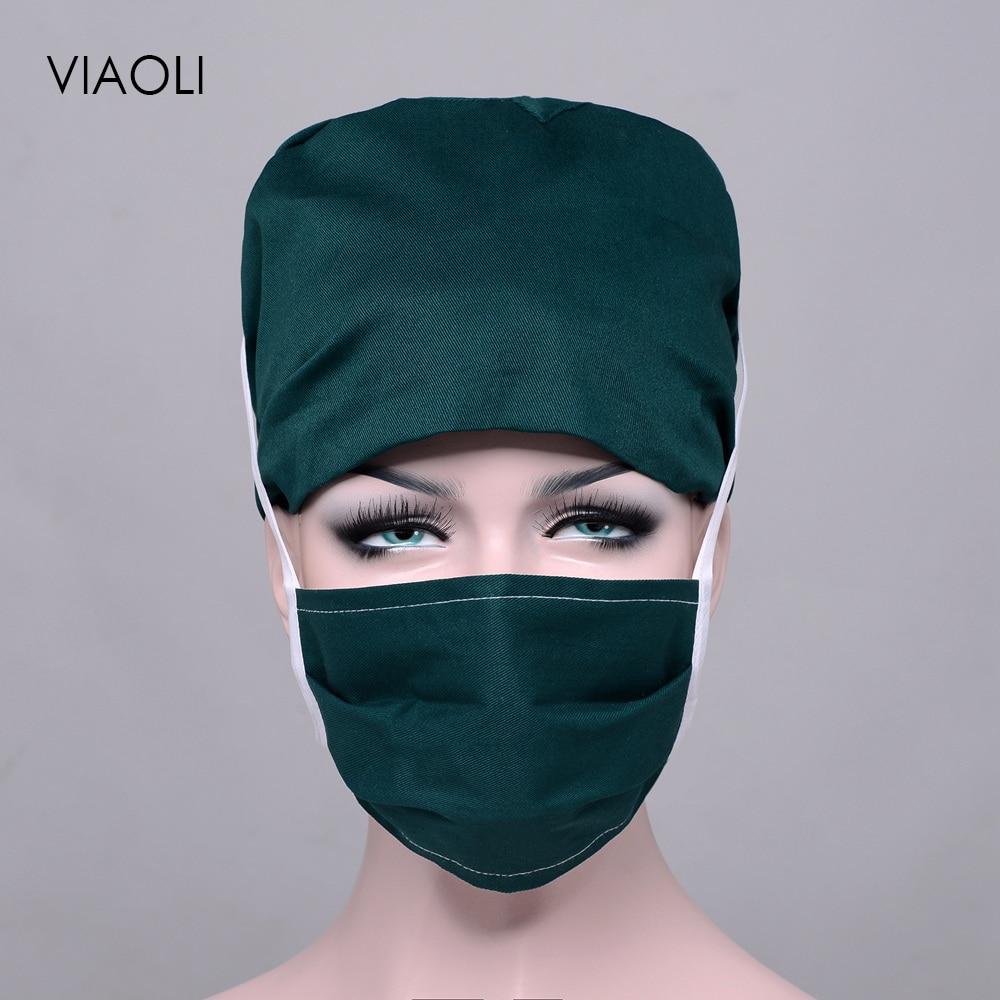 Unisex Food Service Working Beauty Cap Practical Medical Surgical Surgery Hat Nurses Printing Cap Doctor Hat+Masks Wholesale