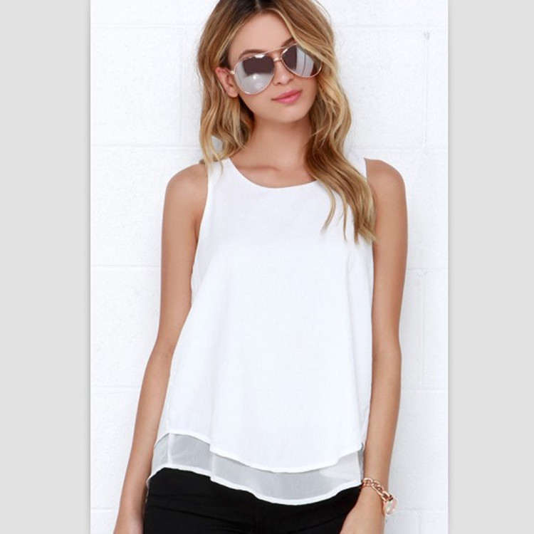 Lossky Individual Tee Shirt Femme 2016 Summer Style Women Tops Sleeveless Double Layer Ropa Mujer Loose blusas White Blouse 1