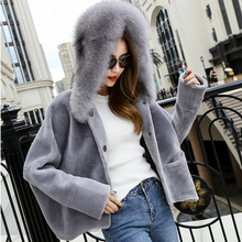 New Parker style Sheep Fur Coat Women  Wool Coat With Fox Fur Hood Long Coat Winter Women Wool Fur Jacket