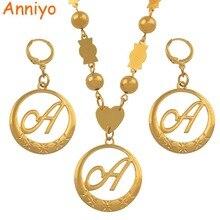 Anniyo Cursive Buchstaben Gold Farbe Anhänger Initial Kette für Frauen Ball Perlen Halsketten Englisch Brief Schmuck Frauen #135006