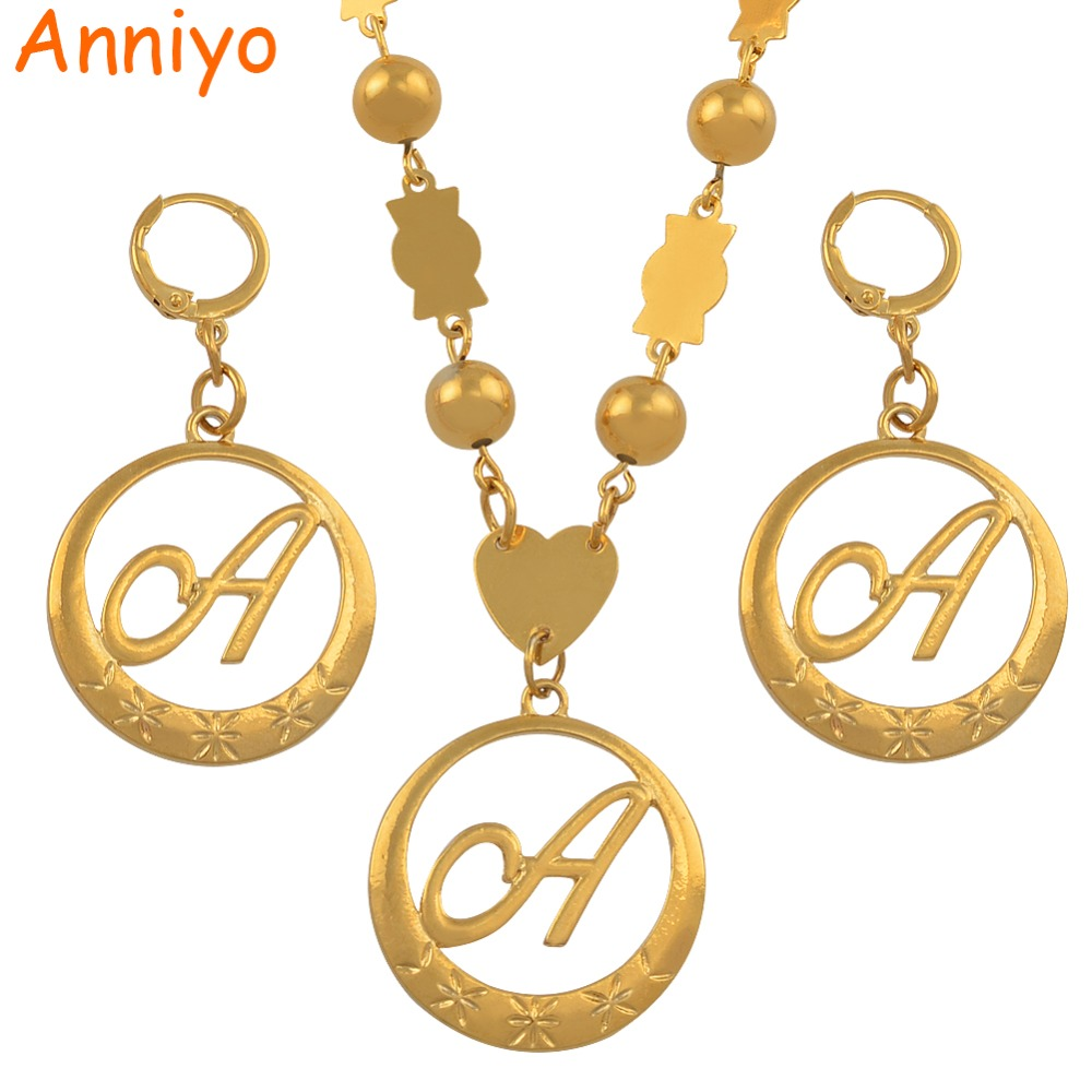 Anniyo Cursive Letters Gold Color Beads Pendant Initial Chain for Women Ball Necklace English Letter Jewelry #135006 beurself oversized capital initial necklace custom name large 26 letters alphabet punk style gold color alloy jewelry for women