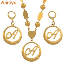 Anniyo Cursive Letters Gold Color Pendant Initial Chain for Women Ball Beads Necklaces English Letter Jewelry Women #135006