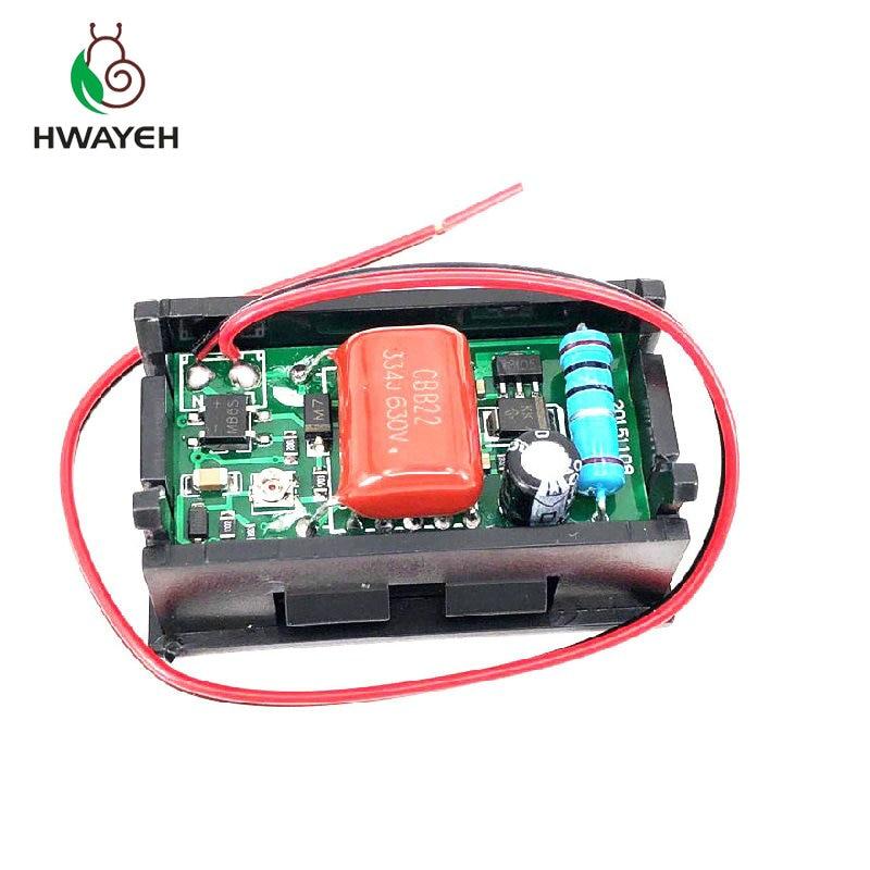 """AC 70-500V 0.56"""" LED Digital Voltmeter Voltage Meter Volt Instrument Tool 2 Wires Red Green Blue Display 110V 220V DIY 0.56 Inch"""