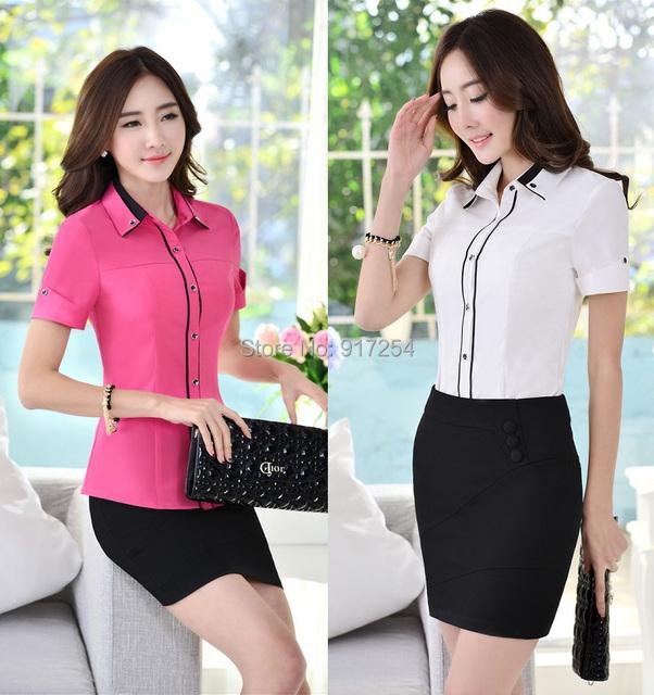 Nova moda elegante fino 2015 primavera verão mulheres trabalho ternos blusas e saia Formal de trabalho uniformes