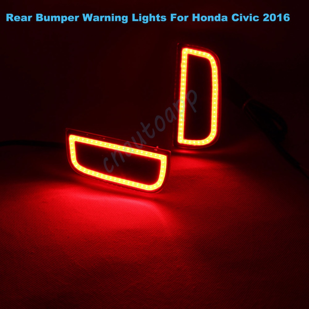 LED Rear Bumper Warning Lights Car Brake Lamp COB Running Light LED Turn Light For Honda Civic 2016  (One Pair) dongzhen fit for nissan bluebird sylphy almera led red rear bumper reflectors light night running brake warning lights lamp