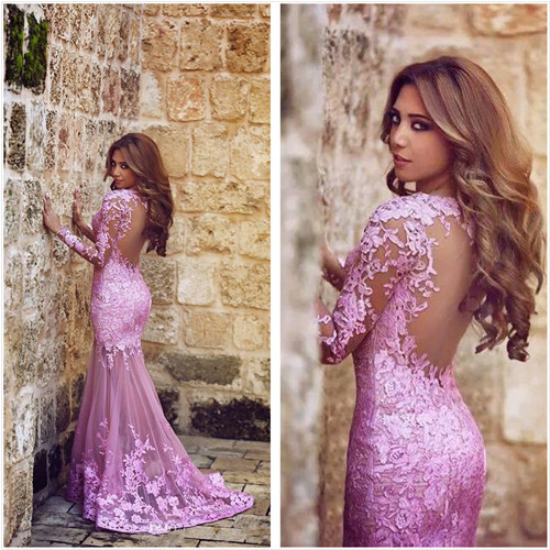 2015 New Listing Lilac Long Sleeves Mermaid Evening Dresses Sheer Lace Backless Sexy Gowns