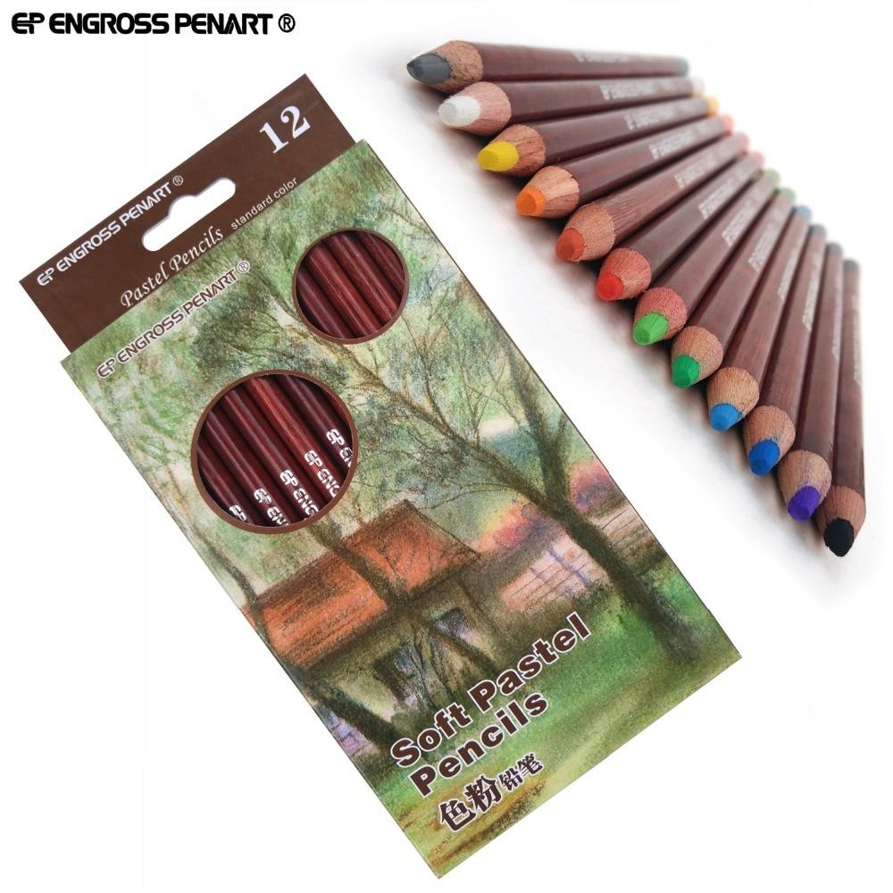Artist 12 Professional Soft Pastel Pencils Sketch Lapis De Cor Pastel Colored Pencils For Drawing Art School Supplies