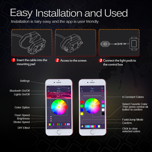 Image 5 - MICTUNING Kit de lampes néon multicolores pour voiture, 4 dosettes, RGB LED, décoration Rock, avec application Bluetooth, synchronisation, fonction musicale