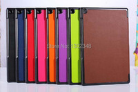 Ultra Slim Cass Grain Pattern 3 Fold Folio Stand Leather Skin Shell Cover Case For Sony