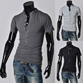 2015 New arrival solid color mans t shirts with small bottons for decoration casual shirts men summer cloth 6 color L-XXXL PD16