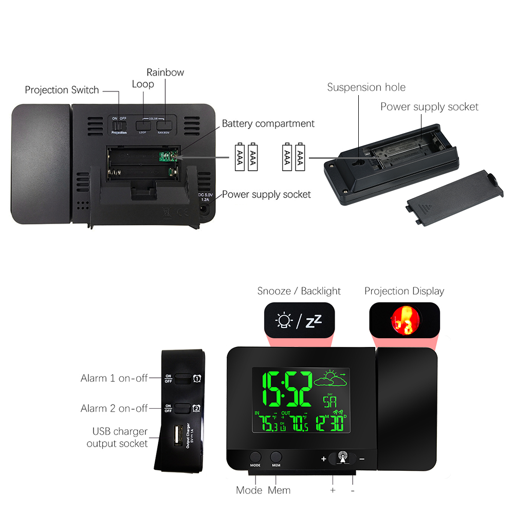 Station météo courbe de température Affichage De Projection réveil Numérique montre à cristaux liquides avec réveil à deux alarmes USB De Charge