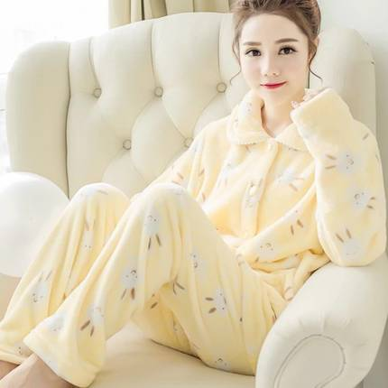 Women Pajamas suit Sleepwear fall and winter Nightgrowns Flannel Coral Fleece Long-sleeve Nightdress Ladies winter pajamas