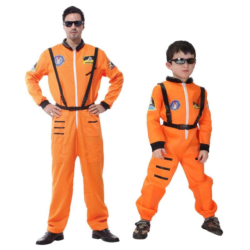 Umorden Purim Festa di Carnevale Costumi di Halloween Astronauta Cosmonauta Costume Ragazzi Uomini Pilota Cosplay Uniforme Per Bambini di Età Arancione
