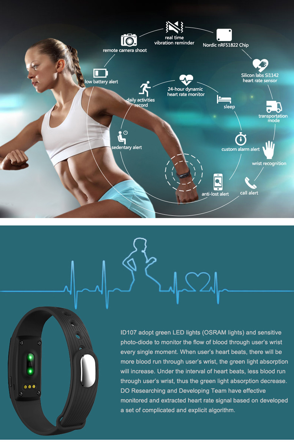 Makibes ID107 Smart Bracelet BT4.0 Heart Rate Monitor Smartband Pulse Sports Fitness Tracker for Android iOS 2
