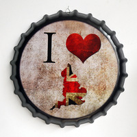 Tin Sign I love Britain Vintage Metal Painting Beer Cover Cafe Bar Hanging Ornaments Wallpaper Decor Plates Retro Mural