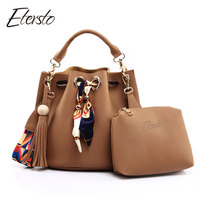 Etersto Brand Tassel Women Totes Vintage Ribbon Patchwork Leather Handbags Small Composite Crossbody Bag Set Top