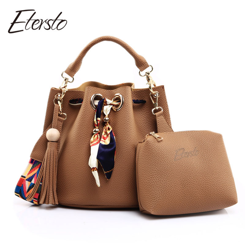 2017 New Bolsa Feminina Brand Tassel Women Bag Handbag Small Composite Crossbody Bag Set Top handle