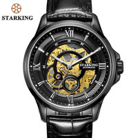 STARKING Men Watches Stainless Steel 50m Waterproof Skeleton Automatic Self Wind Clock Black Mechanical Relogio Masculino AM0182