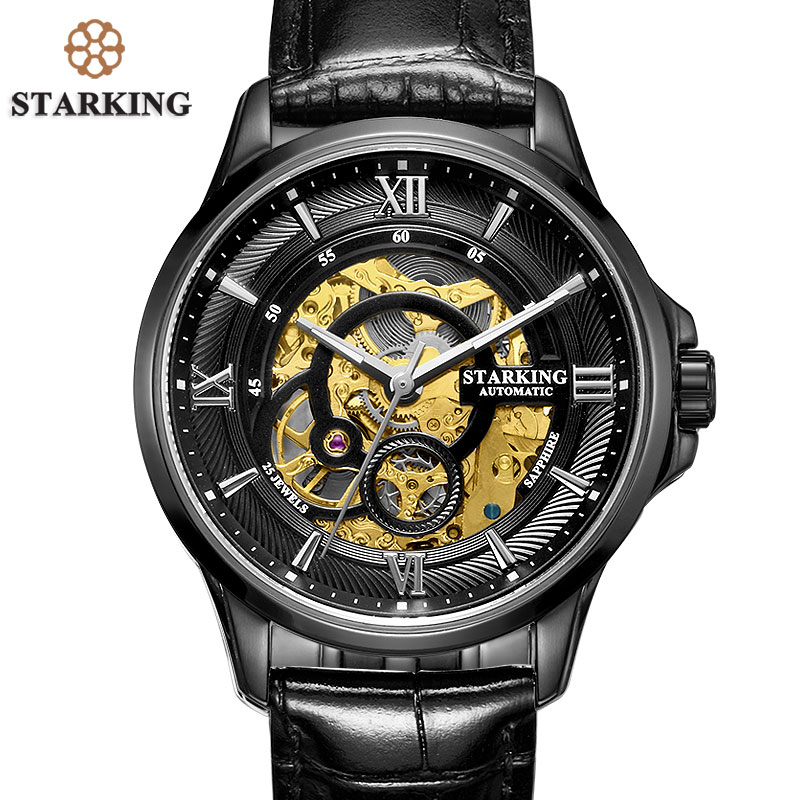 <font><b>STARKING</b></font> Men <font><b>Watches</b></font> Stainless Steel 50m Waterproof Skeleton Automatic Self-Wind Clock Black Mechanical Relogio Masculino AM0182 image