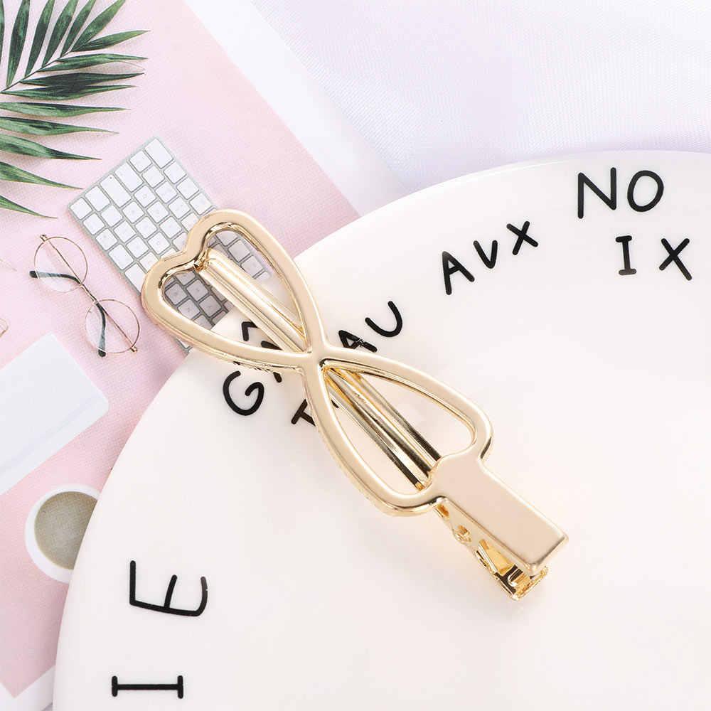 2019 Hot Gold Metal Geometric Shape Hair Clip Bow Rabbit Crown Hairpin Female Hollow Hair Claw Teardrop Headwear Accessories