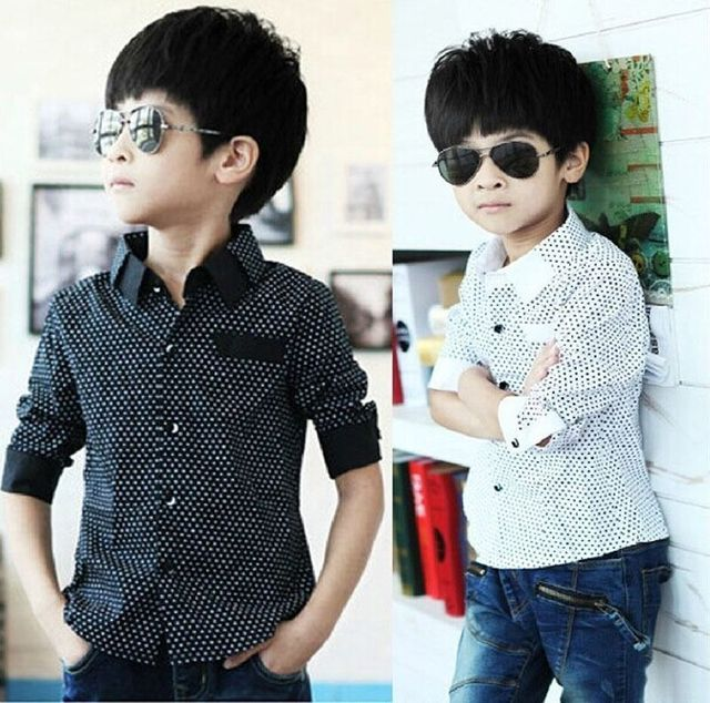 c0848dd64 Fashion Kids Boys Formal Shirt Plain Long Sleeved Polka Dot Lapel Party  Shirt