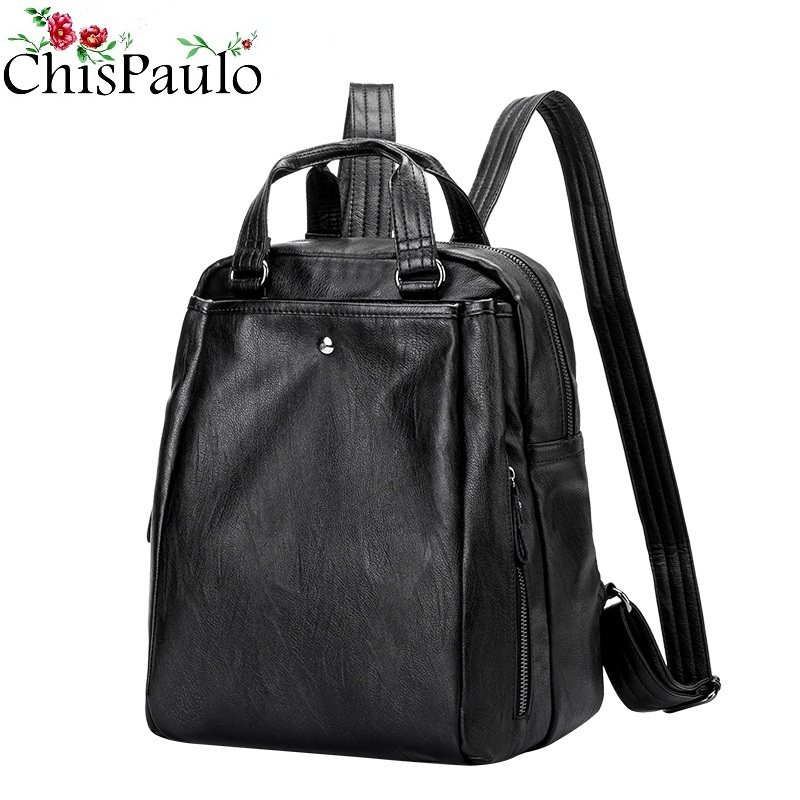 CHISPAULO Women s Backpacks Genuine Leather Women School Bag For Girls Large Capacity Shoulder Travel Bags