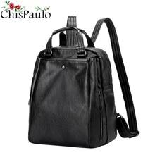 CHISPAULO Для женщин Рюкзаки Пояса из натуральной кожи Для женщин школьная сумка для Обувь для девочек большой Ёмкость плеча Дорожные сумки ноутбук Mochila lN026
