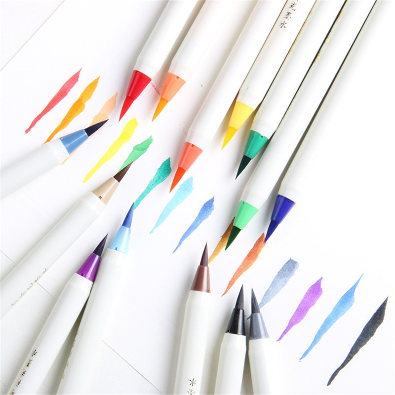 1PC Soft Brush Calligraphy Pen Watercolor Marker Brush Fineliner Art Markers Cartoon Design Sketch Manga Graphic Drawing 7 14 20 set colorful calligraphy pen soft brush marker watercolor marker pen diy graffiti manga drawing marker fineliner marker