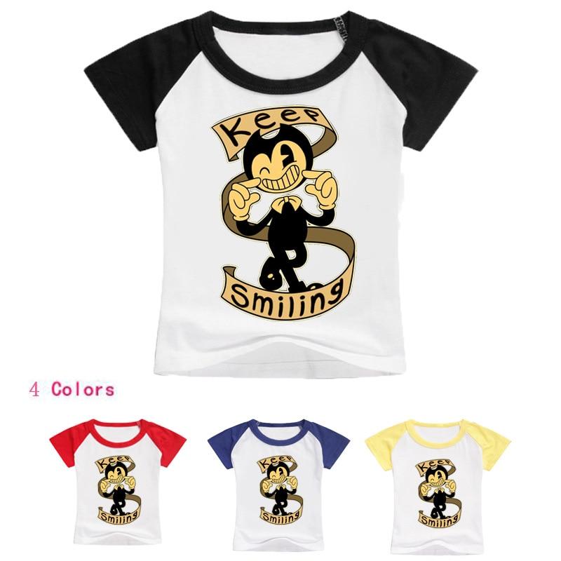 2-16Years Bobo Choses 2018 Boys T Shirt Bendy and Boris Boys Summer Tops for Girl T-shirt Baby Boy Tshirt Top Model Tiny Cottons
