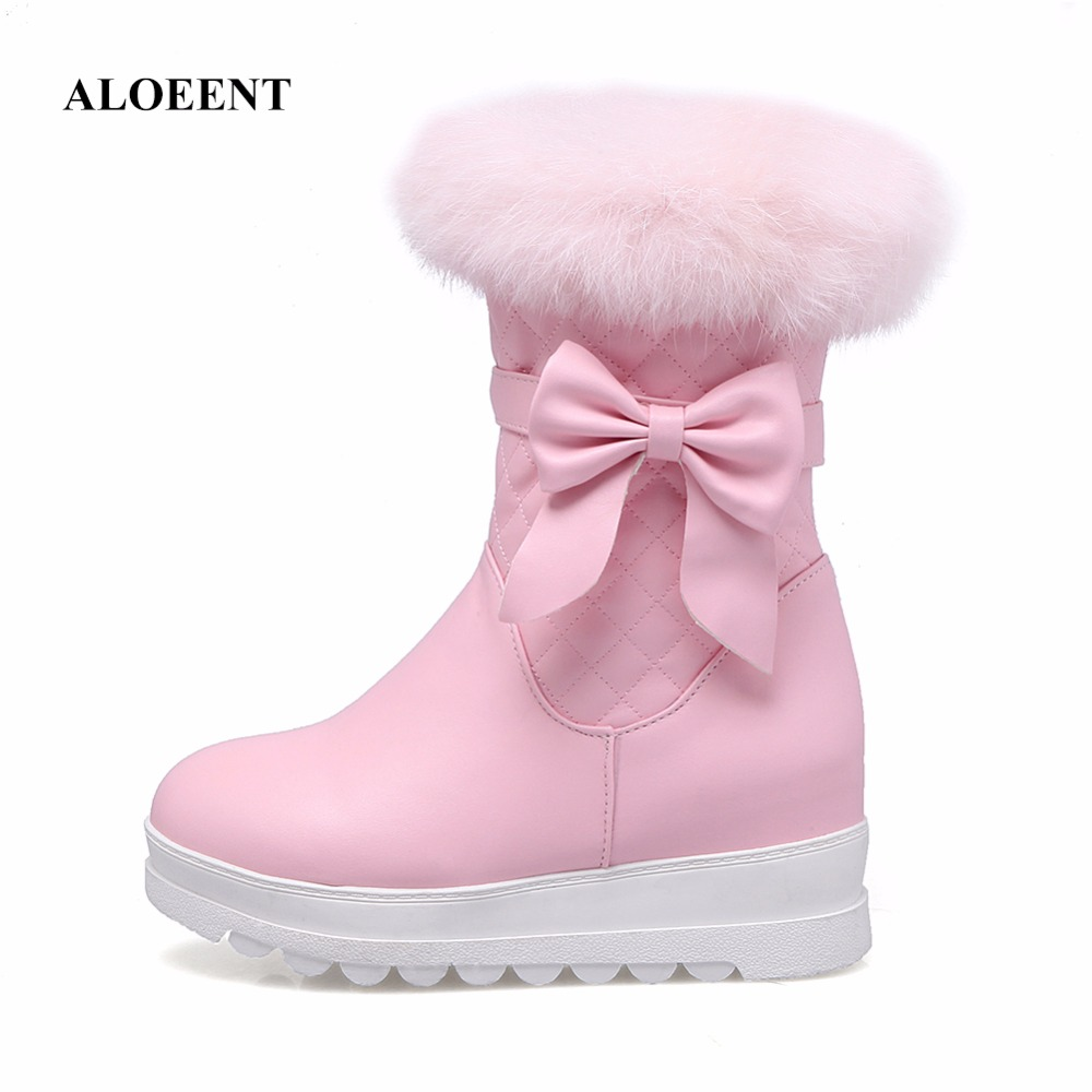 ALOEENT Winter Warm Fur Plush Inside Mid Calf Snow Boots Women Bowknot Thickened Platform Shoes faux fur knitted bowknot snow boots